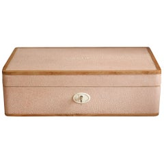 Contemporary Rectangular Authentic Shagreen Pink Covered Box