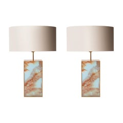 Contemporary Rectangular Blue Cyan Methacrylate Brass Spanish Table Lamps, 2016
