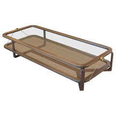 Contemporary Rectangular Coffee Table, Rattan/Walnut
