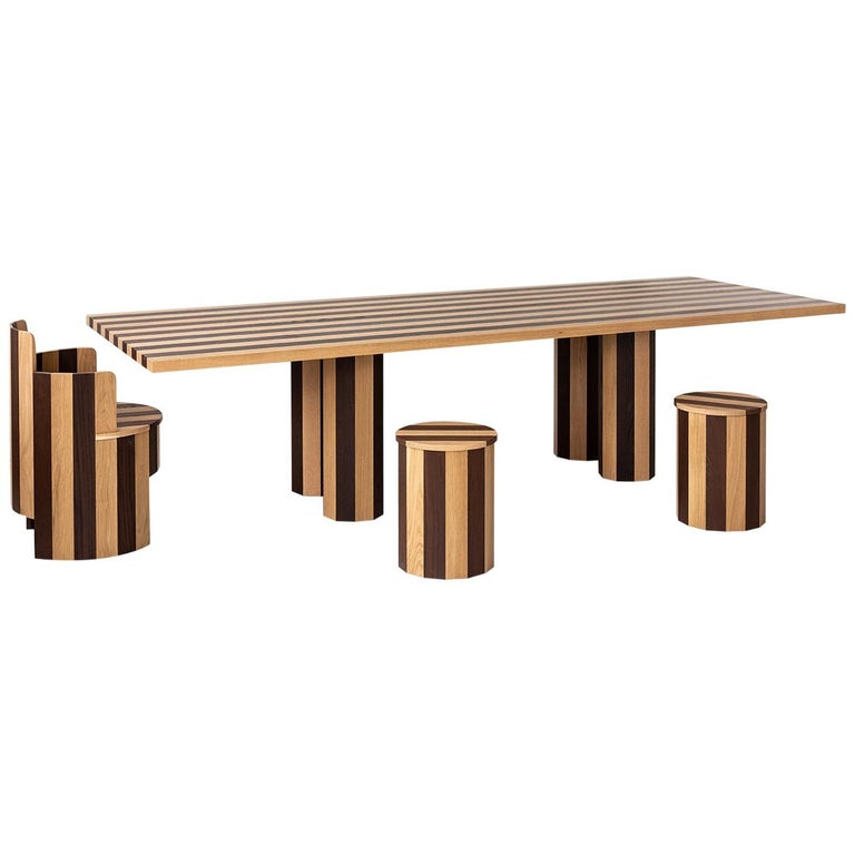 Contemporary Rectangular Cooperage Dining Table in Striped Oak by Fort Standard  For Sale