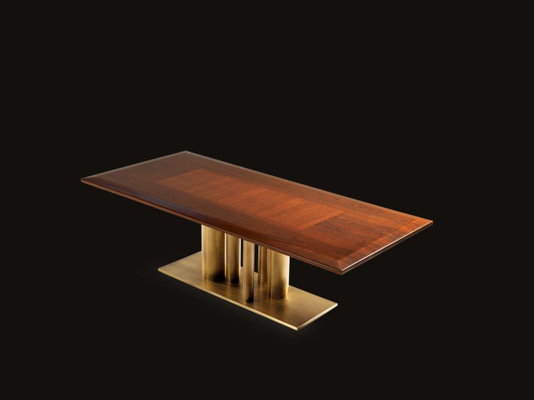Contemporary Rectangular Dining Table in Solid European Walnut For Sale 2