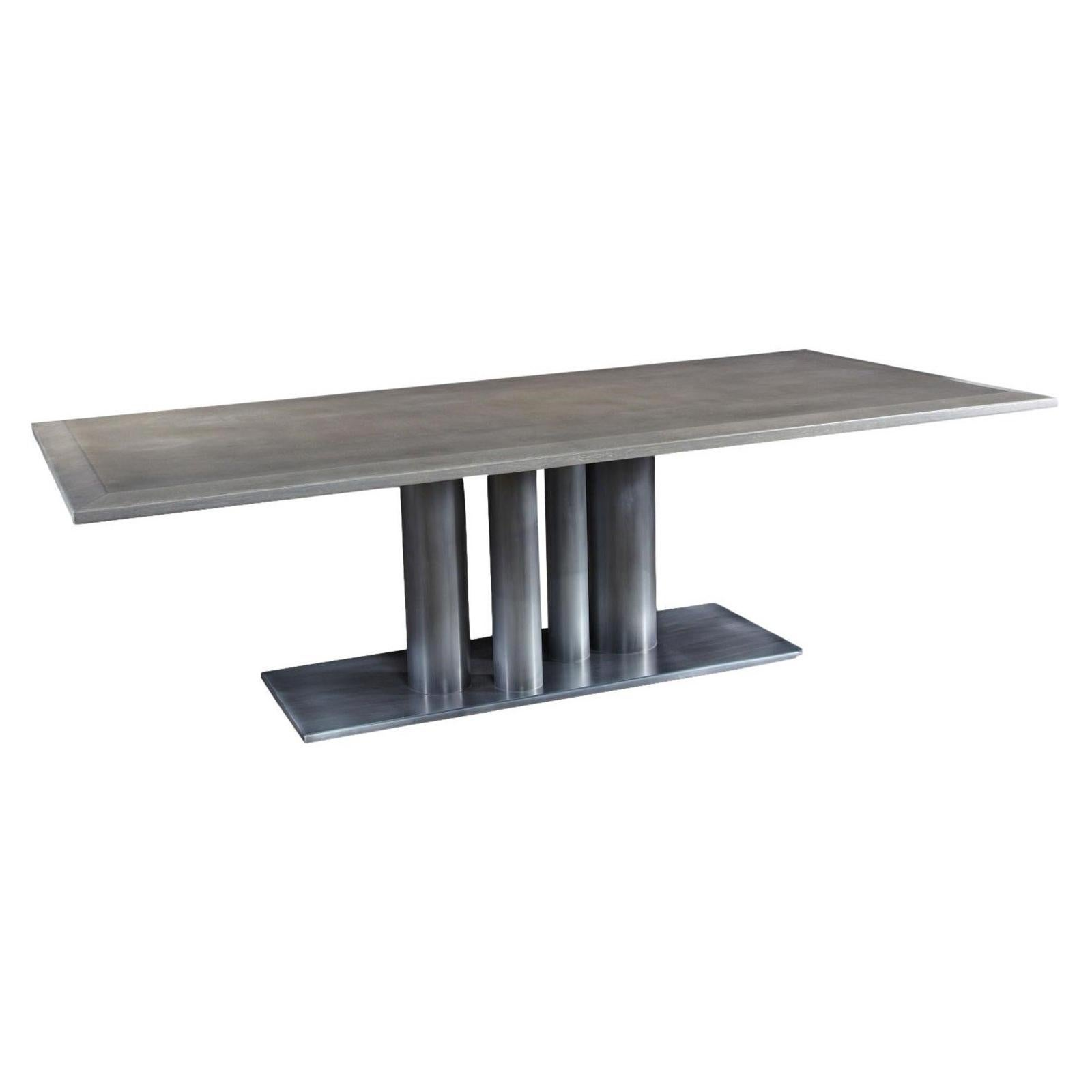 Contemporary Rectangular Dining Table in Warm White Oak