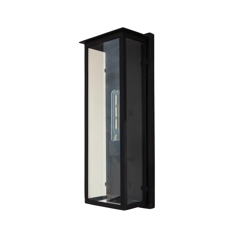 American Contemporary Rectangular Exterior Wrought Iron Lantern, Clean Lines Simple For Sale