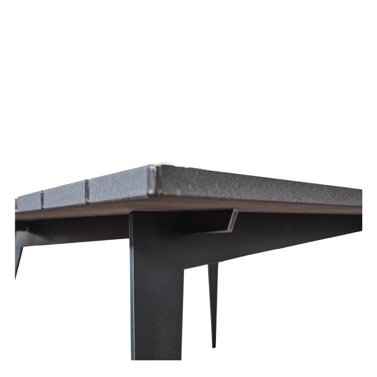 Italian Contemporary Rectangular Table in Lava Stone and Steel, FilodiFumo 3rd For Sale
