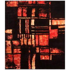 Contemporary Red and Black Wool and Silk Rug