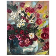 Contemporary Red and White Bouquet of Flowers Painting