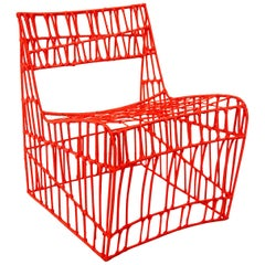 Contemporary Red Armchair from recycled metal and nylon wires by Cheick Diallo