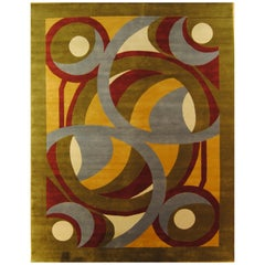 Contemporary Red Green Yellow and Grey Natural Wool Boralevi's Design Rug