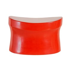Contemporary Red Lacquer Saddle Seat Drumstool by Robert Kuo, Limited Edition