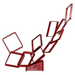 Contemporary Red Metal Abstract Table Sculpture Signed Cynthia McKean, 1990s