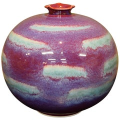 Contemporary Red Purple Ceramic Vase by Japanese Master Artists