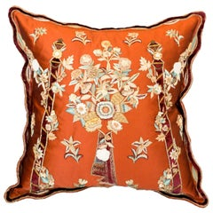 Contemporary Red Silk Pillow with Ornate Floral Embroidery