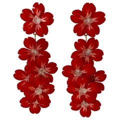 Contemporary Red Silver XL Flower Statement Chandelier Earrings