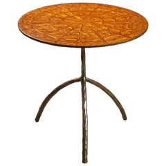 Contemporary Resin and Bronze End Table