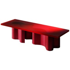 Contemporary Resin Coffee Table, Red Polished Spine Table, by Erik Olovsson