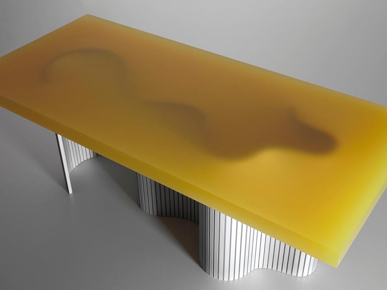 Dutch Contemporary Resin Coffee Table, Yellow Spine Table, by Erik Olovsson For Sale