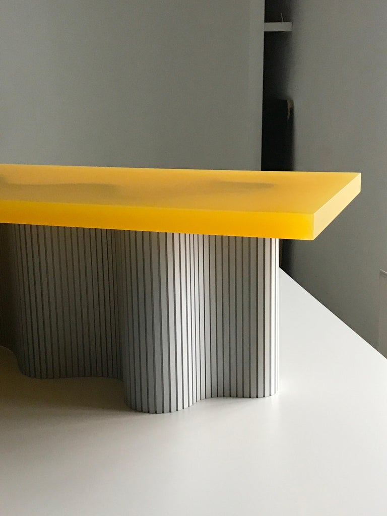 Anodized Contemporary Resin Coffee Table, Yellow Spine Table, by Erik Olovsson For Sale