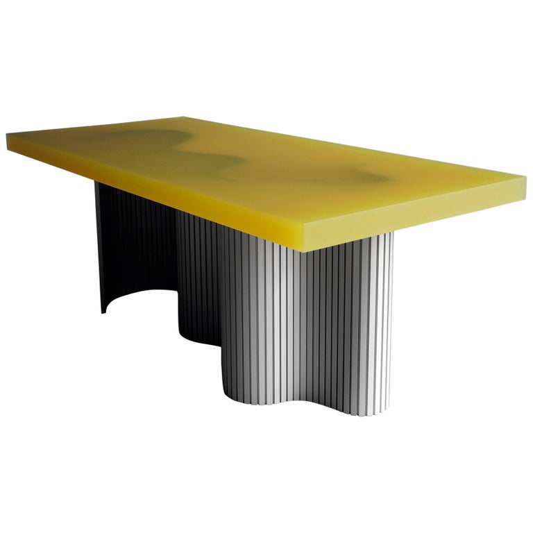 Contemporary Resin Coffee Table, Yellow Spine Table, by Erik Olovsson For Sale