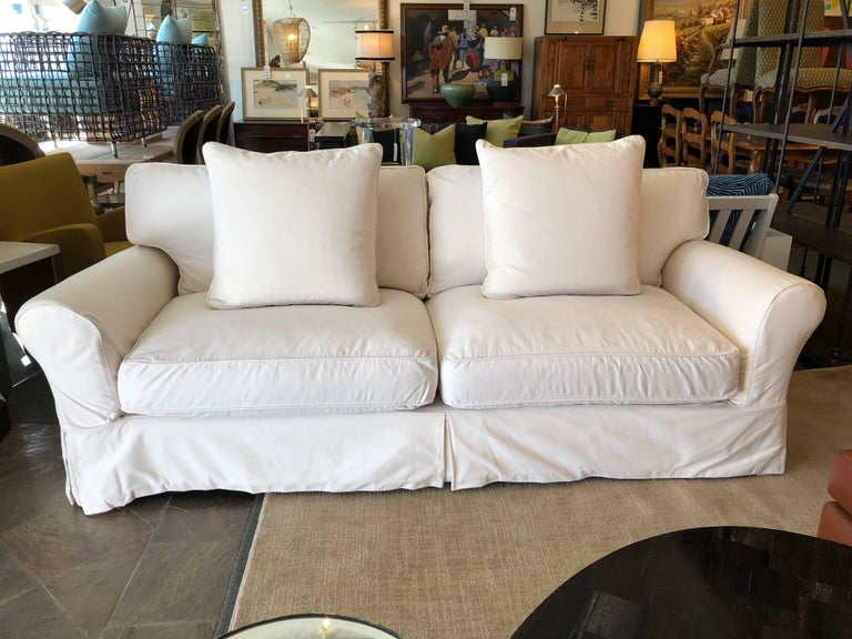 Contemporary Restoration Hardware Roll Arm White Cotton Slipcovered