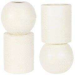 Contemporary Reversible Dew Vase White Ceramic and Glaze, Handmade