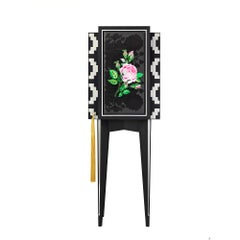 Contemporary Rh Black and White Mono Secretaire with Roses Embroidery