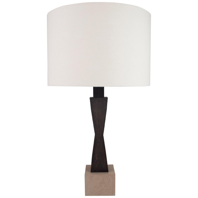Contemporary Ridge Lamp with Geometric Oak Base and linen Shade For Sale