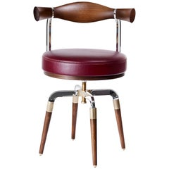 Contemporary Rifle Chair in Walnut and Brushed Brass and Polished Aluminum