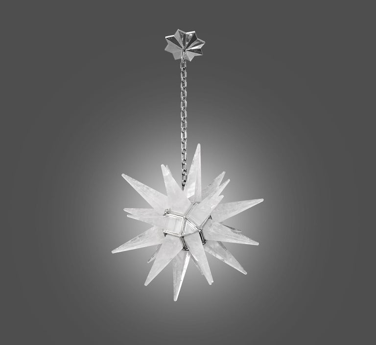 Contemporary Rock Crystal Quartz Star Chandelier In Excellent Condition For Sale In New York, NY