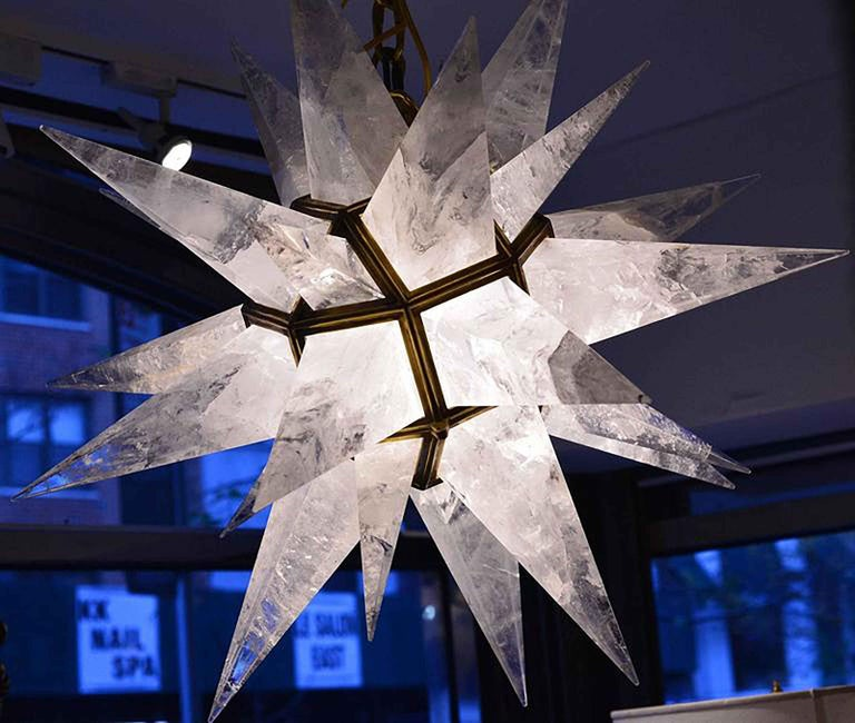 Contemporary Rock Crystal Quartz Star Chandelier For Sale 2