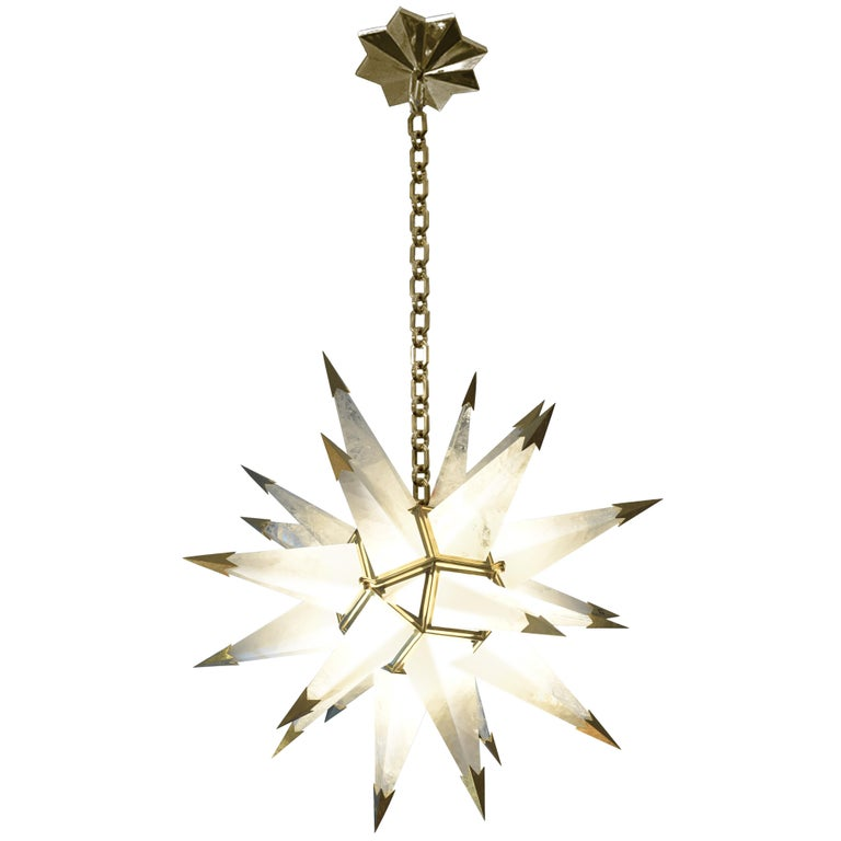 Contemporary Rock Crystal Quartz Star Chandelier For Sale