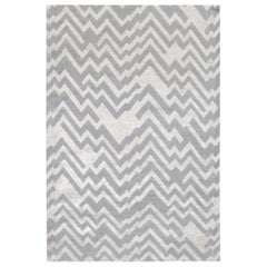 Contemporary Rocky Peaks Gray and Beige Silk and Wool Rug