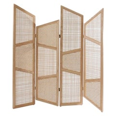 Contemporary Room Divider in Natural Cane Webbing