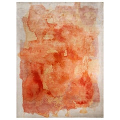 Contemporary Rose Orange and Silver Silk Rug