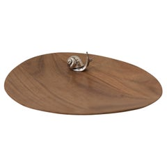 Contemporary Rosewood Tray with Sterling Silver Snail