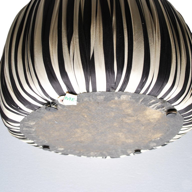 Fabric Contemporary Round Black And White Pouf Ottoman For Sale