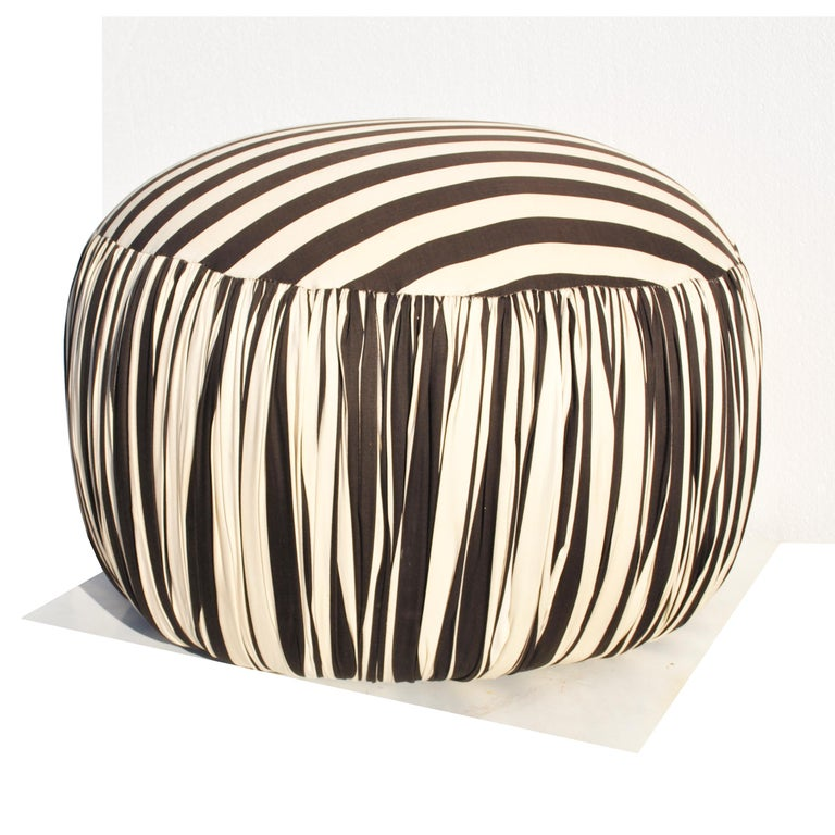 Contemporary Round Black And White Pouf Ottoman For Sale 1