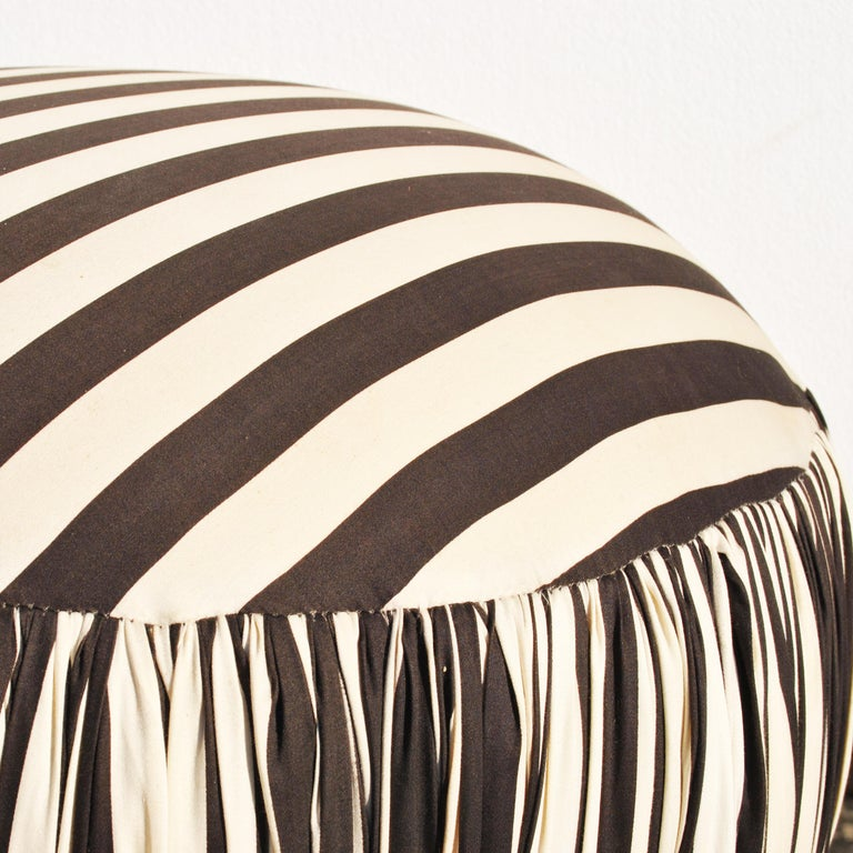 Contemporary Round Black And White Pouf Ottoman For Sale 2