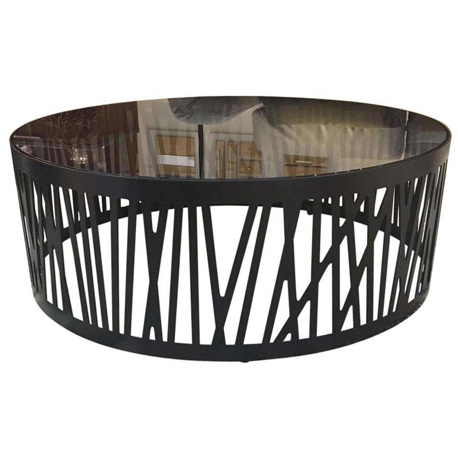 Contemporary Round Coffee Table With, Round Metal Glass Top Coffee Table