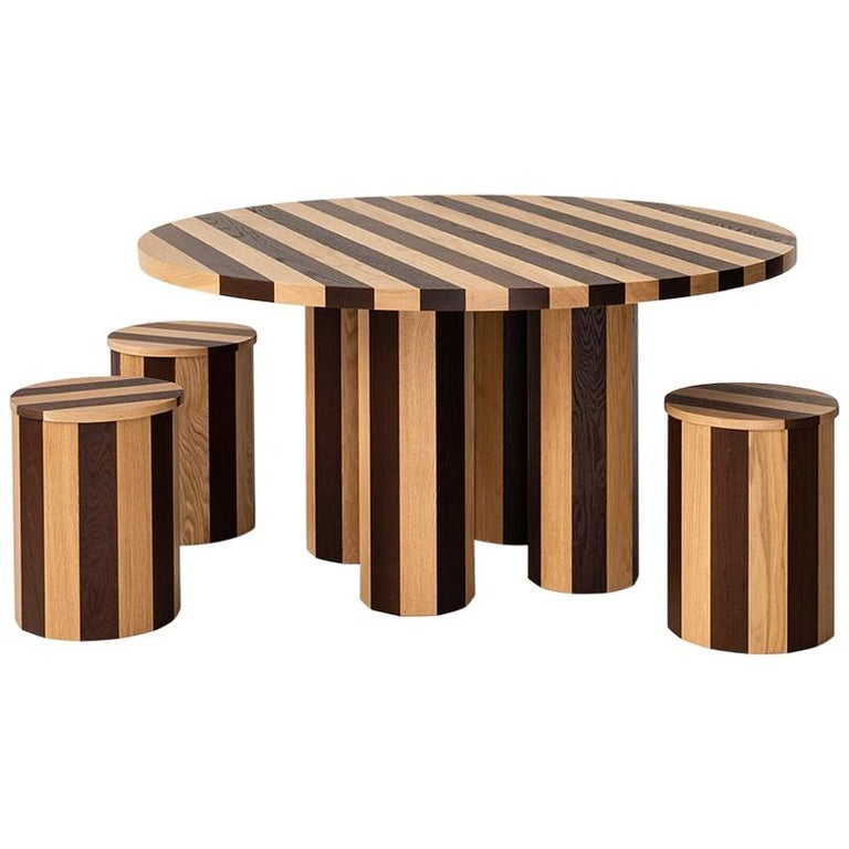 Contemporary Round Cooperage Dining Table in Striped Oak by Fort Standard For Sale