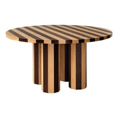 Contemporary Round Cooperage Dining Table in Striped Oak by Fort Standard