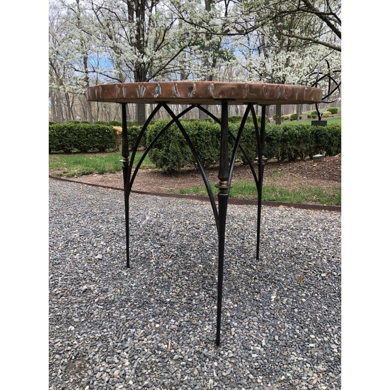 Contemporary Round Copper Center Dining Table In Excellent Condition For Sale In Hopewell, NJ