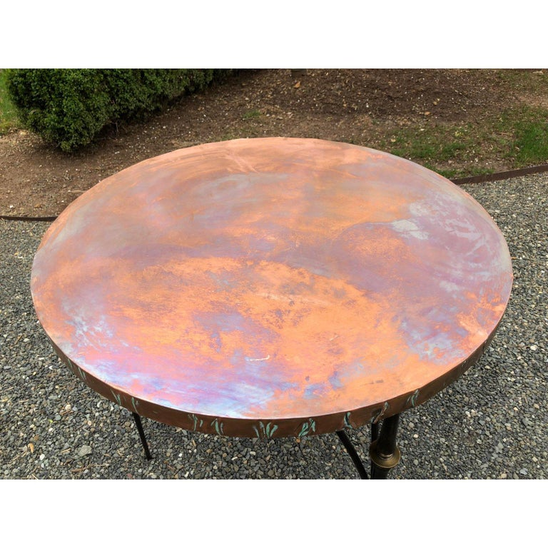 Contemporary Round Copper Center Dining Table For Sale 1