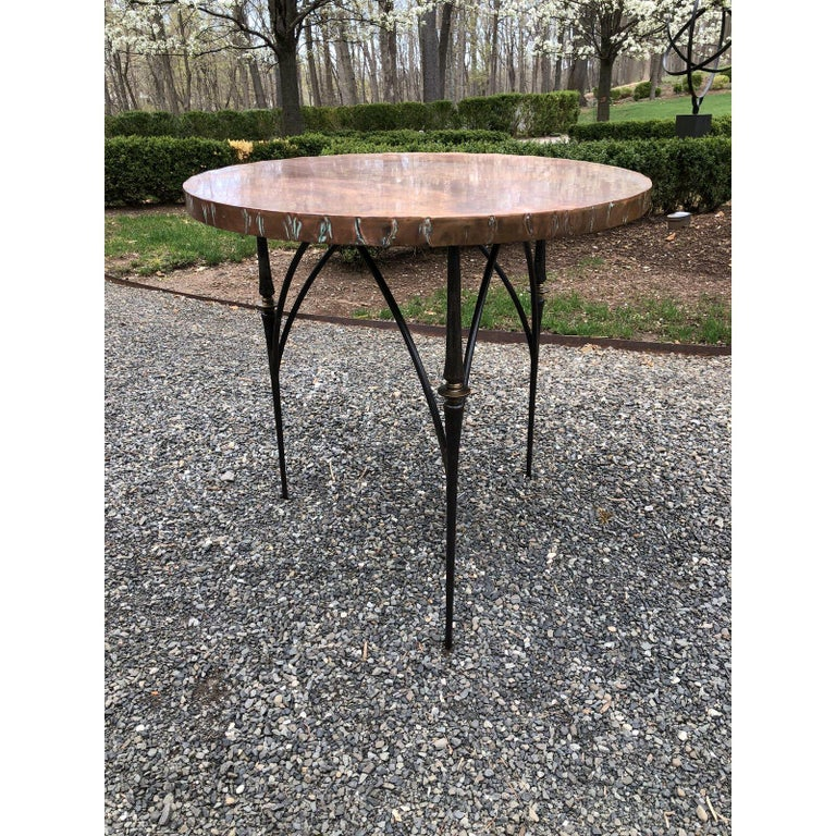 Contemporary Round Copper Center Dining Table For Sale 2