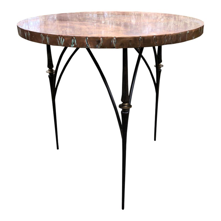 Contemporary Round Copper Center Dining Table For Sale