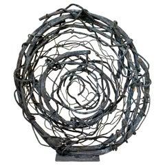 Contemporary Round Copper Metal Abstract Table Sculpture Robert Hansen, 2020