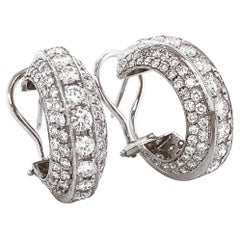 Contemporary Round Diamonds 5.14 Carat Platinum Half Hoop Earrings