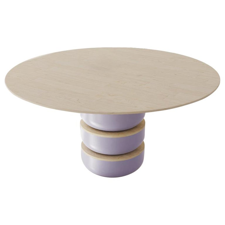 Contemporary Round Dining Room Table in Solid Wood For Sale