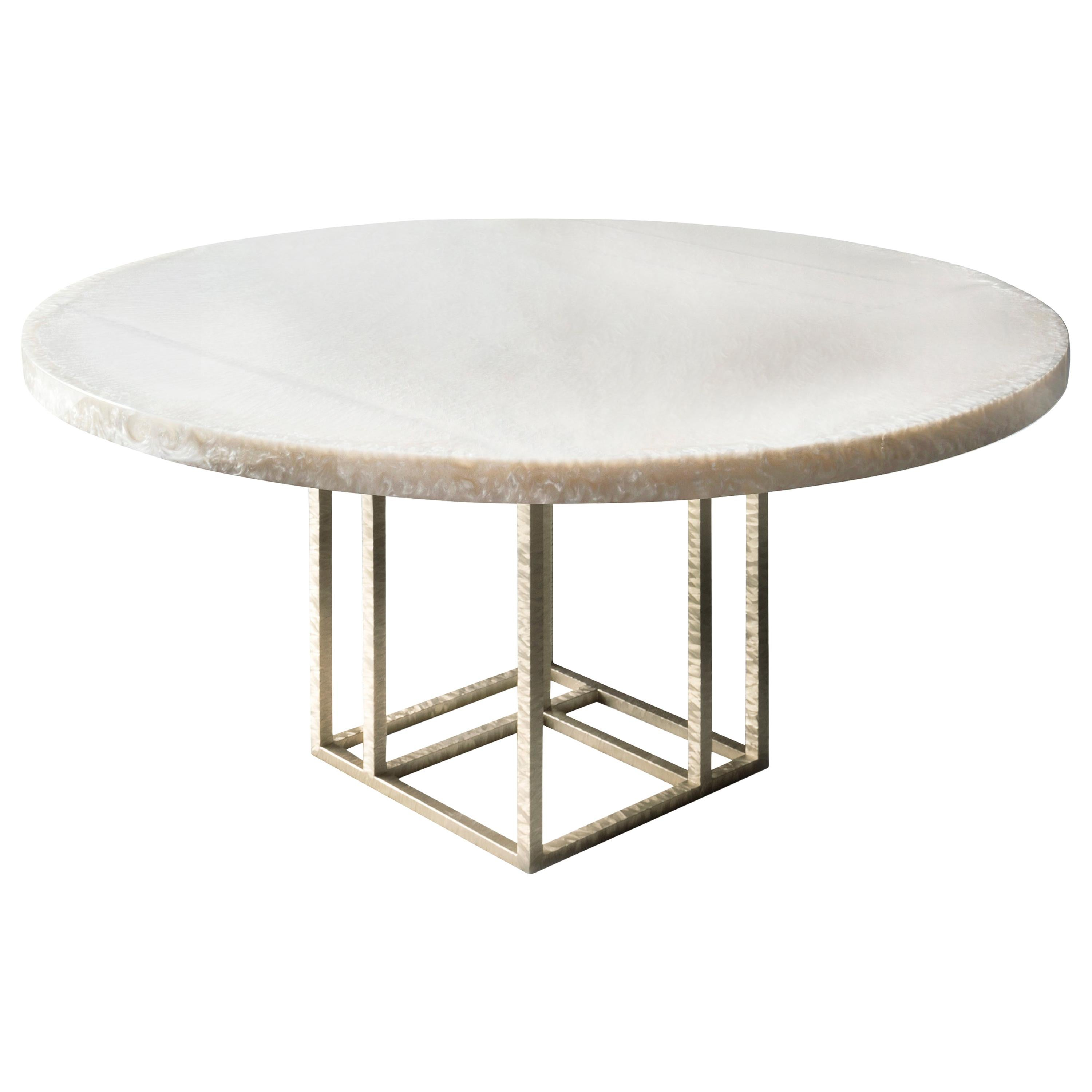Contemporary Round Dining Table by Hessentia in White Resin and Metal