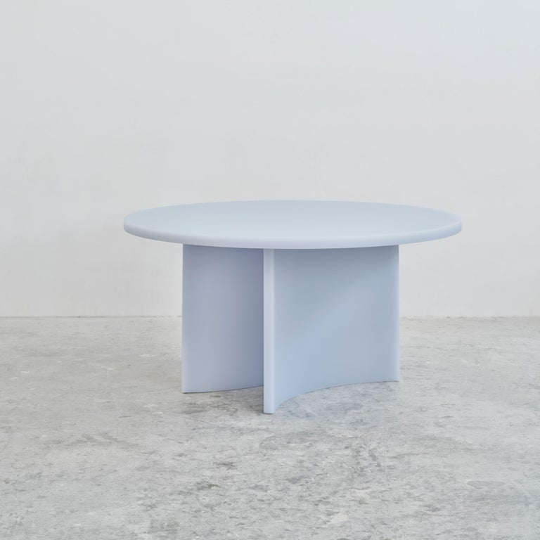 Modern Contemporary Round Dining Table by Sabine Marcelis, Matte Resin, Ice Lavender For Sale