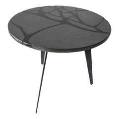 Contemporary Round Outdoor Table in Lava Stone and Steel, Filodifumo